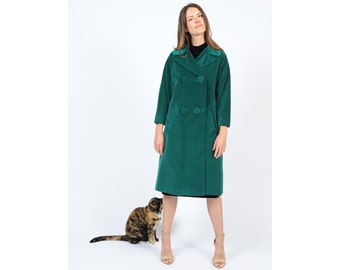 Vintage 1960s Green Velvet Coat Double Breasted Joshep Magnin