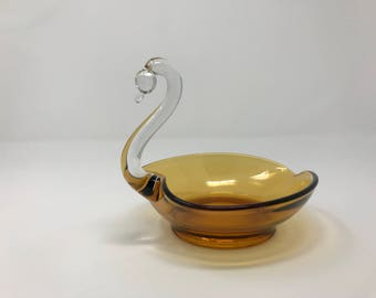 Viking Glass Amber Swan Candy Dish