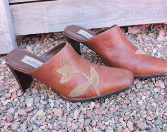 Brown leather mules / size US 7.5 EU 38 / tooled leather high heel mules / Matisse made in Brazil / boho western mules