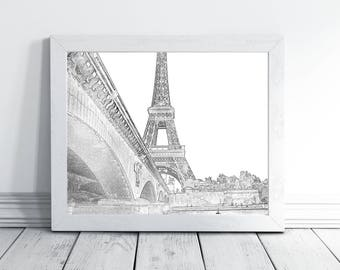 Printable Wall Art, Paris Wall Art Decor, Eiffel Tower Print, Paris Illustration, Paris Decor Bedroom, Paris Wall Decor, Paris Art Printable