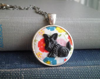Scottie Dog Charm Necklace - Vintage Scottish Terrier & Floral Fabric Necklace - Retro Flower Textile Art Animal Jewelry Gift - Dog Pendant