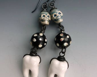 Day of the Dead Skull Tooth Earrings