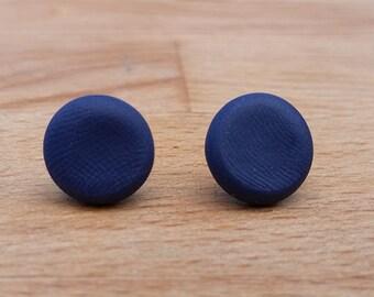 Neat navy polymer clay earrings