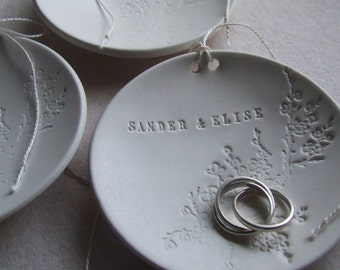personalized Ring Bearer Bowl with floral blooming branch design, custom wedding ring dish by Paloma's Nest