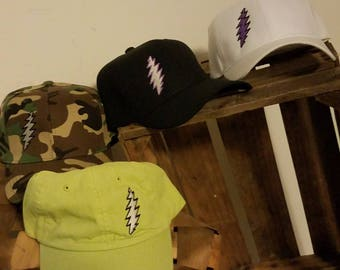 Embroidered BallCaps with 13 Point Lightning Bolts OOAK