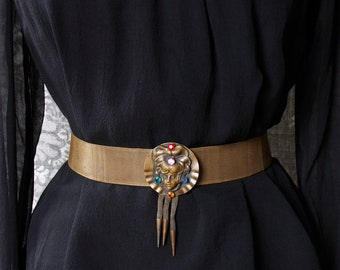 vintage 1930s/40s brass mesh belt with lady face <> 30s/40s mesh belt with lady head buckle, colorful rhinestones, and tassels