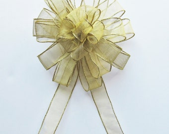 Sheer Wired Bow - Gold - Wired Bow - 24 Loops - Christmas Decoration - Wreath Bow - Party Decoration