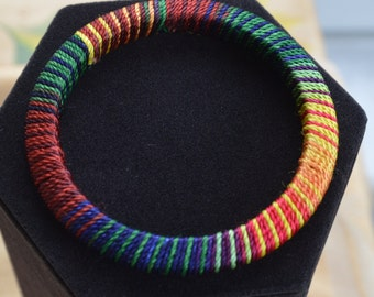 Pretty Vintage Multi-Colored Cord Wrapped Bangle Bracelet, Rainbow, Lightweight