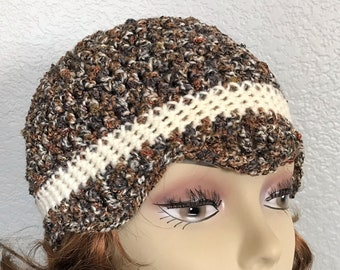 Brown cloche hat, Flapper beanie, Crochet cloche, Womens hat, 1920s style hat, Crochet beanie, Gift for her, Spring accessory, Mothers Day