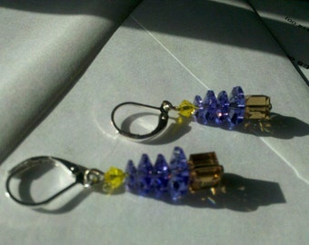 Swarovski crystal christmas tree earrings Purple