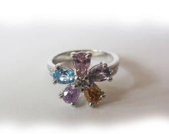 Sterling Silver 925 Ring With Gems Amethyst Topaz Citrine Zircon