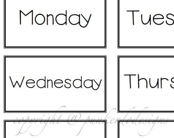 Learning FUN - Days of the Week - Flash Cards and PDF Instant Download - by PunkerDo Designs