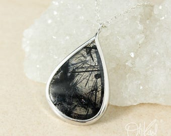 Teardrop Black Rutile Quartz Pendant Necklace – Choose Your Pendant