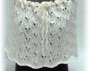 "Bridal Wedding Shrug / Cape / Shoulder Warmer ""Magnolia"", hand knit in delicate Lace Pattern - Fall/Winter Weddings"
