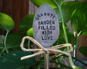 Granny's Garden Filled With Love garden pick - hand stamped spoon plant marker - garden marker for your planter bed - re-purposed spoon art