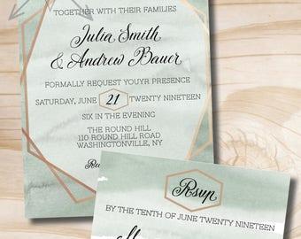 Watercolor and Foil Wedding Invitation Response Card Invitation Suite, Formal, Gold, Rose Gold, Gold Foil, Matte, Black Tie, Green & Copper