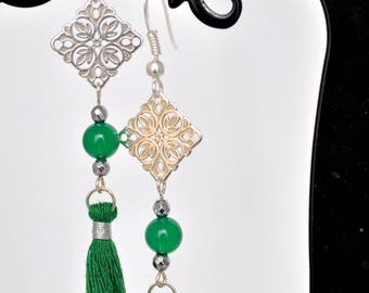 Earrings MOIRA 925 sterling silver, green agate and silver hematite