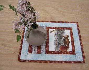 """Quilted Mug Rug """"Squirrels"""" Snack Mat, Candle Mat, Small Placemat, Quiltsy Handmade, Hot pad, Fabric Trivet"""