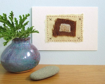 Fragment no.1 - Original Mixed Media Hand Stitched Textile Artwork Collage