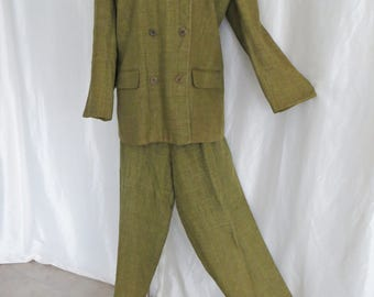 Vintage 80s womens pants suit, olive green brown plaid, double breasted, office business, size 22 Plus size