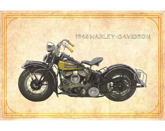 1948 Harley-Davidson Motorcycle print