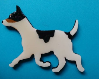 Rat Terrier Pin, Magnet or Ornament -Free Shipping -Hand Painted