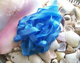 Vintage- Seam Binding -Flower Blue-Ribbon-Silky