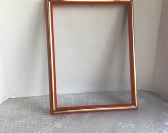 Vintage 9 X 12 Inch Wood Picture Frame / Red and Gold Wooden Frame Made in Mexico