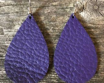 Leather Purple Teardrop Earring