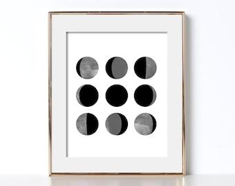 Moon Phase Prints Moon Print Digital Download Moon Poster Black and White Prints Moon Printable Watercolor Moon Art Moon Phases Printable