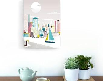 Boston Art Illustration Canvas Print, Skyline Prints Poster Travel Poster, Home Wall Decor Framed Canvas Art, Office Art Style: BMC01