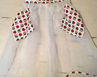 Vintage Organza Strawberry Apron
