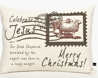 Christian Christmas pillow cover Jesus holiday postcard 12x16 cotton canvas Cottage Chic decor cushion #511 FlossieandRay