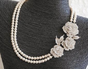 Crystal Bridal Necklace, Vintage Style Swarovski Pearl Wedding Necklace, Art Deco Rose Flower Statement Bridal Wedding Jewelry, ROSELLE