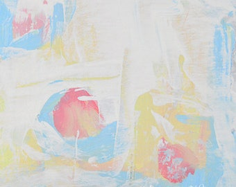 Beach Lovers Gift for Couple. Ocean Theme Abstract Painting Print. Pink Circles. 89