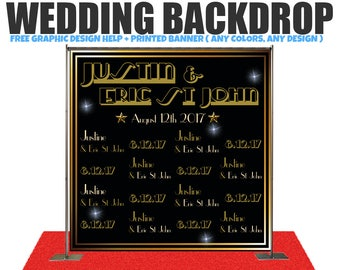 Gatsby theme Wedding Photo Booth Backdrop Custom/ any design Wedding Photo Booth Backdrop, Step and Repeat Backdrop, Wedding backdrop
