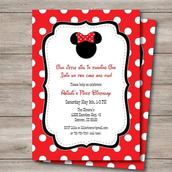 minnie mouse invitation with editable text diy printable