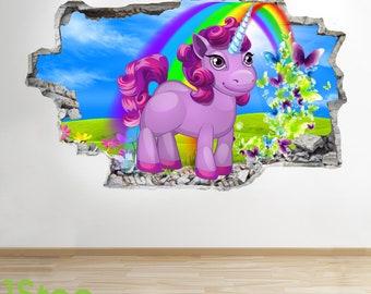 Unicorn Wall Sticker 3d Look - Boys Girls Bedroom Enchanted Wall Decal Z548