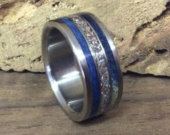 Titanium Ring, Wood Ring, Eco Friendly Ring, Wedding Ring, Mens Ring, Womens Ring, Handmade Ring, Junk Ring, Blue Ring, Robandlean, Unique