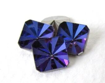 Vintage Swarovski Crystal Rhinestone Heliotrope Square Octagon Rare Deco Style Blue Purple Pink Glass Jewel 8mm swa0769 (4)