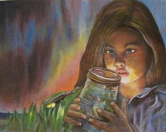 original art drawing watching fireflies girl daydreamer fairy children imagination