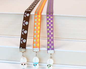 Ribbon Bookmark - White Rabbits, Lampwork Glass Bunny Beads, Bright Checkerboard Pattern Ribbon or Chocolate Brown