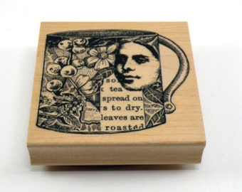 Lady Collage Cup Rubber Stamp