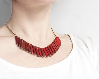 Ombre Pendant Necklace // REDNESS // Minimal Jewelry // Red Hand-Painted Necklace // Wood // Geometric // Minimal Necklace / Modern Necklace