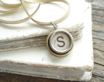 Typewriter Jewelry. Personalized Letter S Necklace. Typewriter Necklace. Vintage Typewriter Key Necklace. Initial Necklace. Upcycled Jewelry