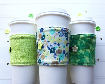 Coffee Cup Cozy, Mug Cozy, Coffee Cup Sleeve, Cup Cozy, Cup Sleeve, Reusable Coffee Sleeve - St. Patrick's Day - Green Florals [80-82]