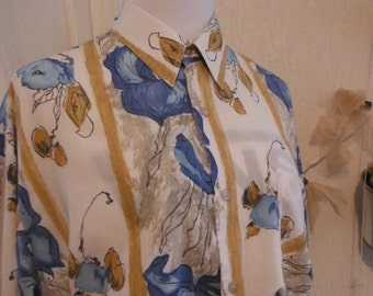 Yellow Blue Floral Shirt - Size Medium 10 12 - Vintage
