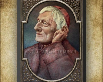 Blessed John Henry Newman, Cardinal Newman Wood Plaque & Holy Card GIFT SET #3008