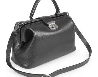 Leather Top Handle Bag, Grafit Leather Handbag Top Handle, Women's Leather Bag KF-1480