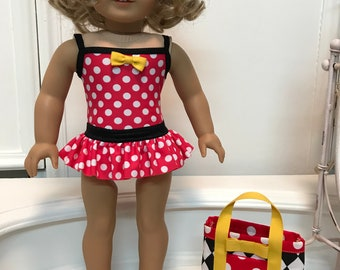 American Made One-piece ruffled Swimsuit bag and sandals made to fit 18 inch dolls such as American Girl